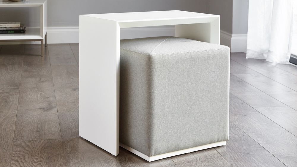 White gloss multi use sidetable