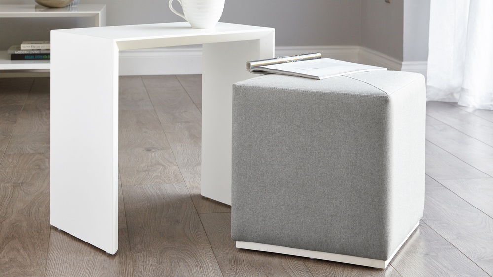 Duo White Gloss And Grey Fabric Side Table And Stool Set