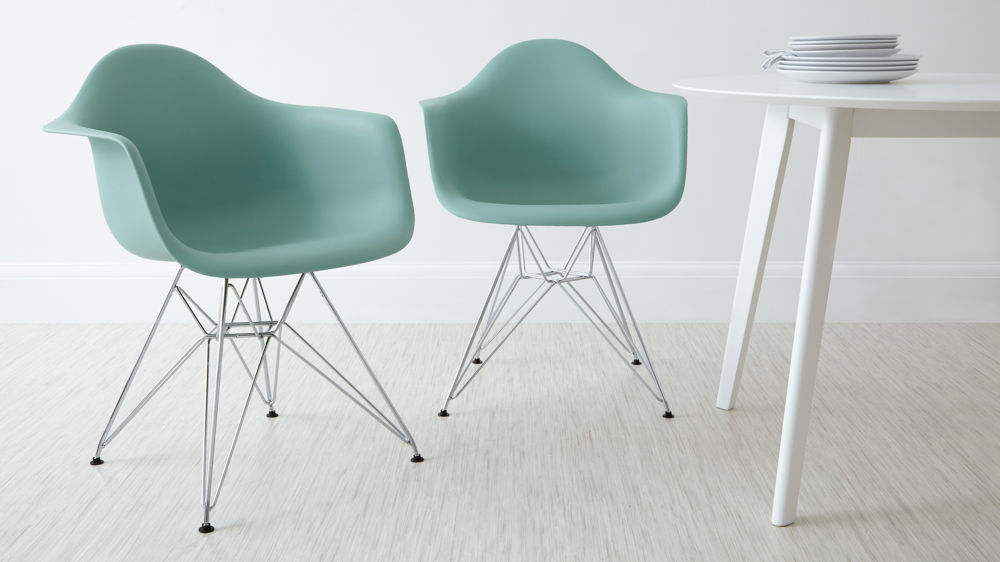 Green Eames Dining Chair with Arm Rests