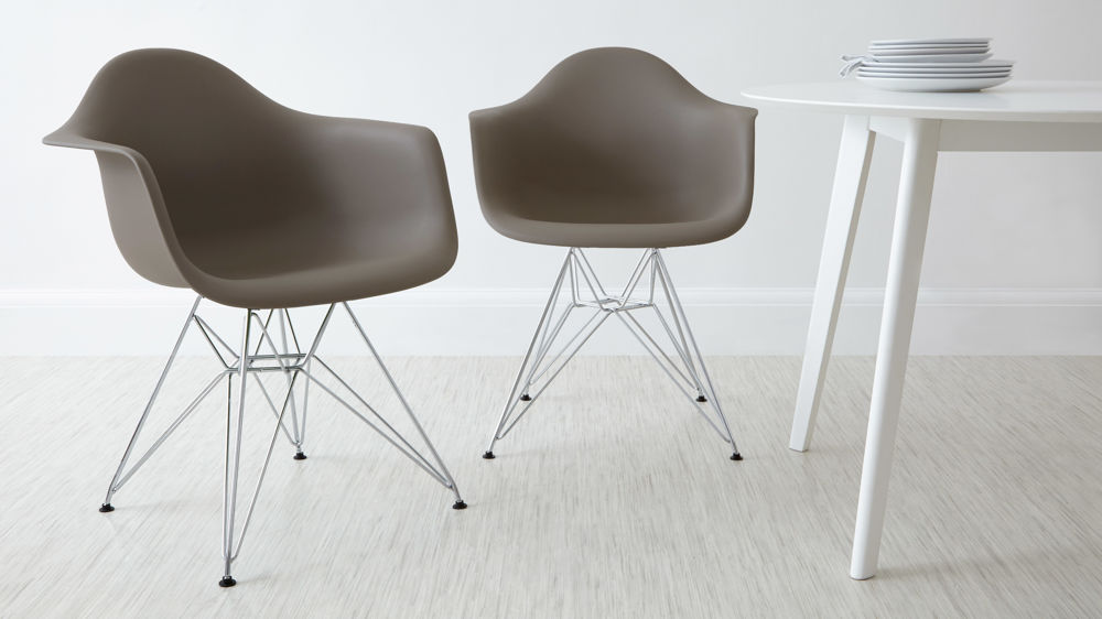 Taupe Dining Arm Chairs with Metal Legs