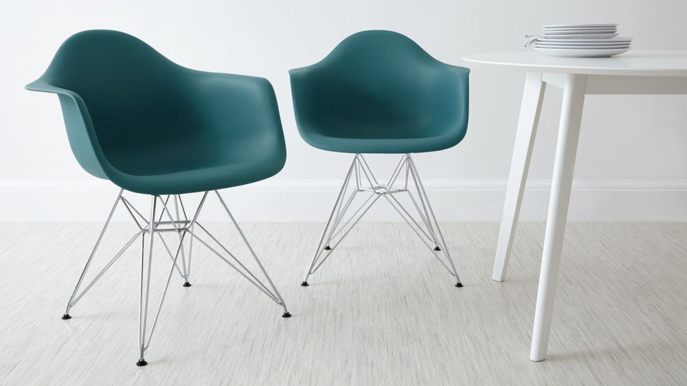 Teal Wired Based Eames Dining Arm Chairs