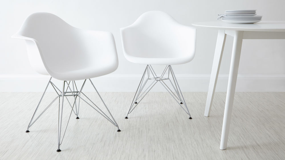 White Eames Dining Arm Chairs with White Legs