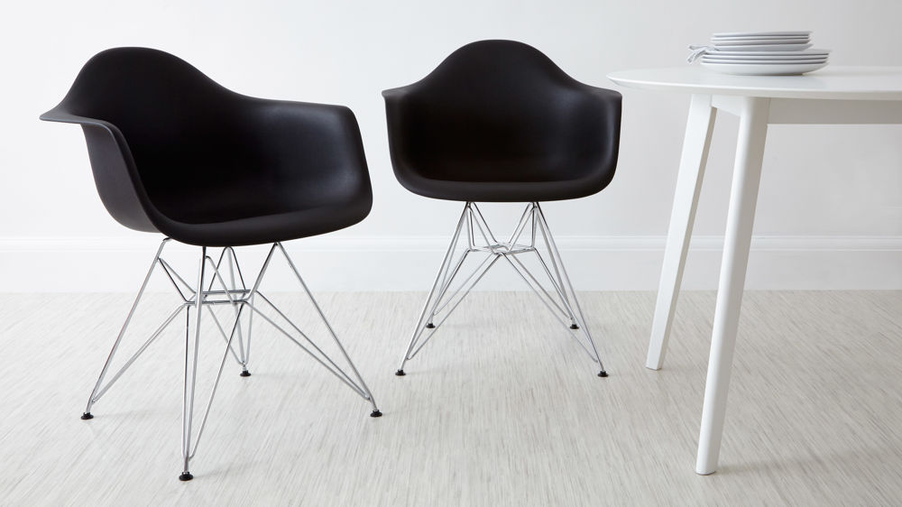 Black Eames Dining Arm Chairs with Metal Legs