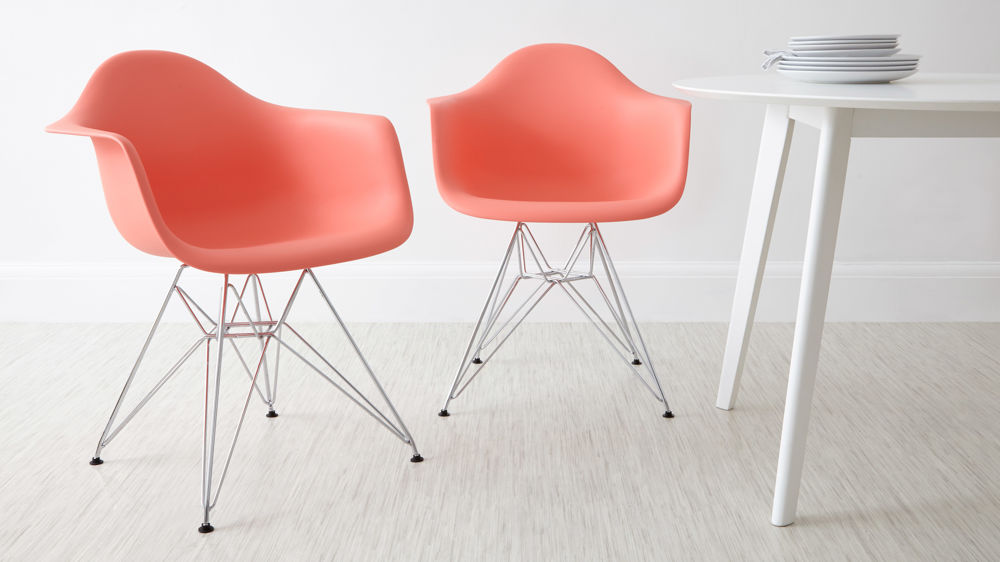 Pink Metal Based Eames Dining Arm Chairs