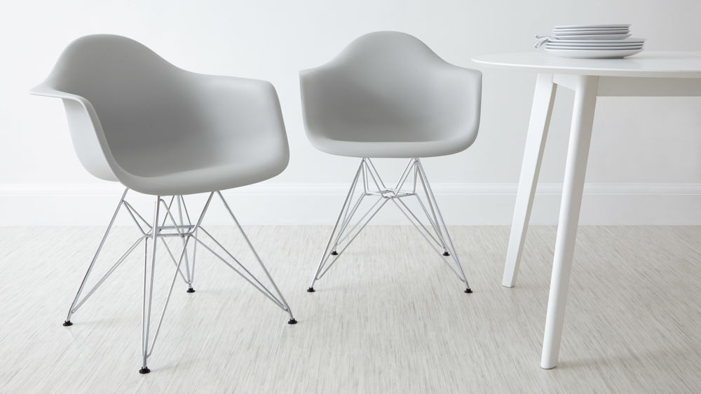 Grey Eames Dining Arm Chairs with Wire Legs