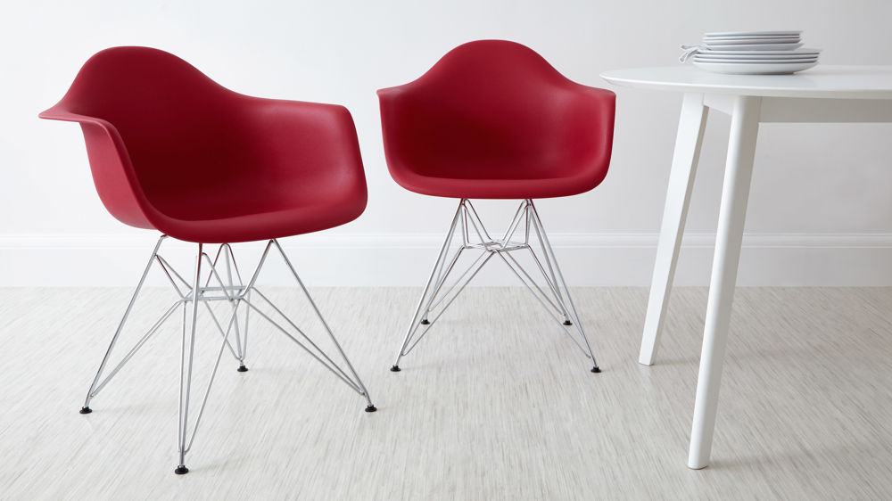 Red Wired Eames Dining Arm Chairs