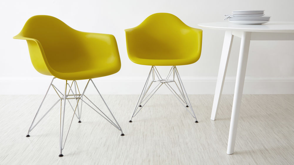 Mid Century Modern Yellow Eames Dining Chairs