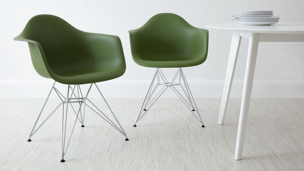 Modern Green Eames Dining Arm Chairs