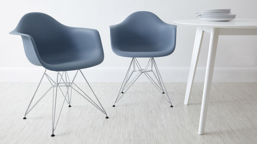 Contemporary Blue Eames Dining Arm Chairs