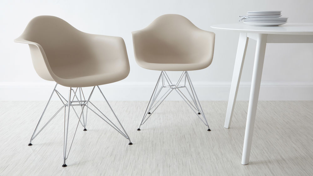 Stylish Beige Dining Arm Chairs with Metal Legs