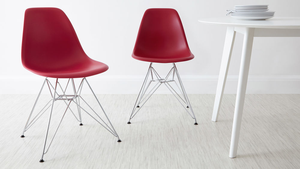 Red Eames Style Dining Chairs with Metal Legs