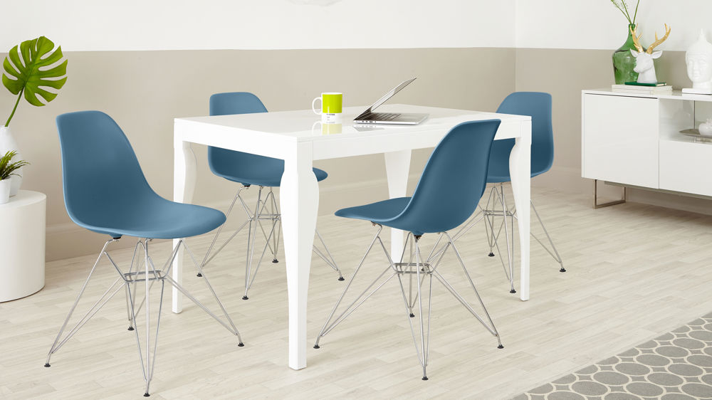 Modern 4 Seater White Gloss Dining Set