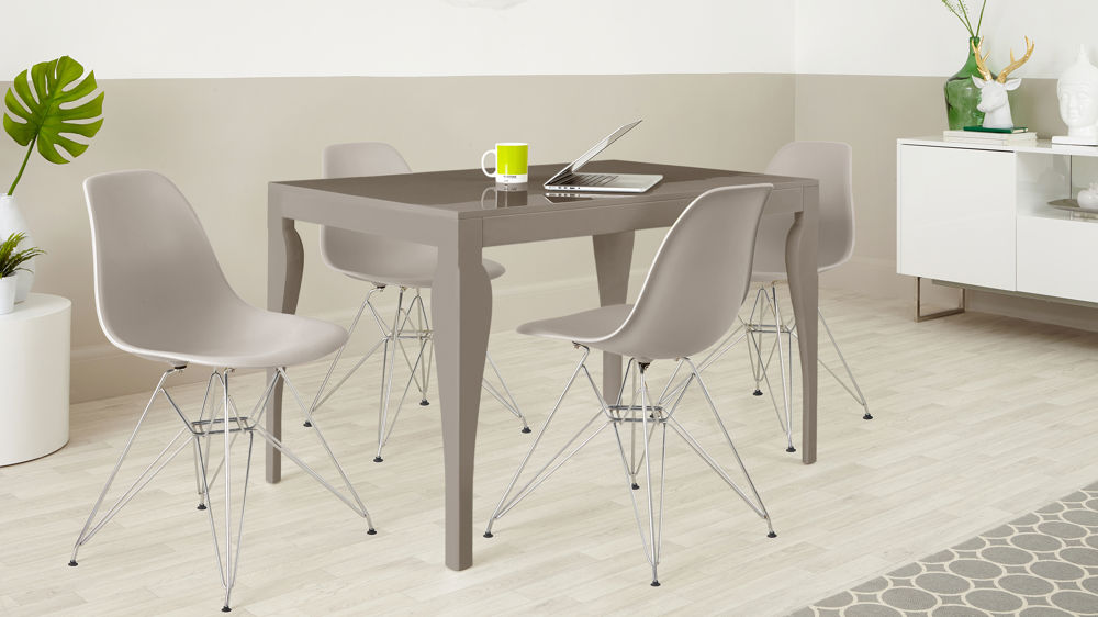 Stylish Grey Gloss Small Dining Set