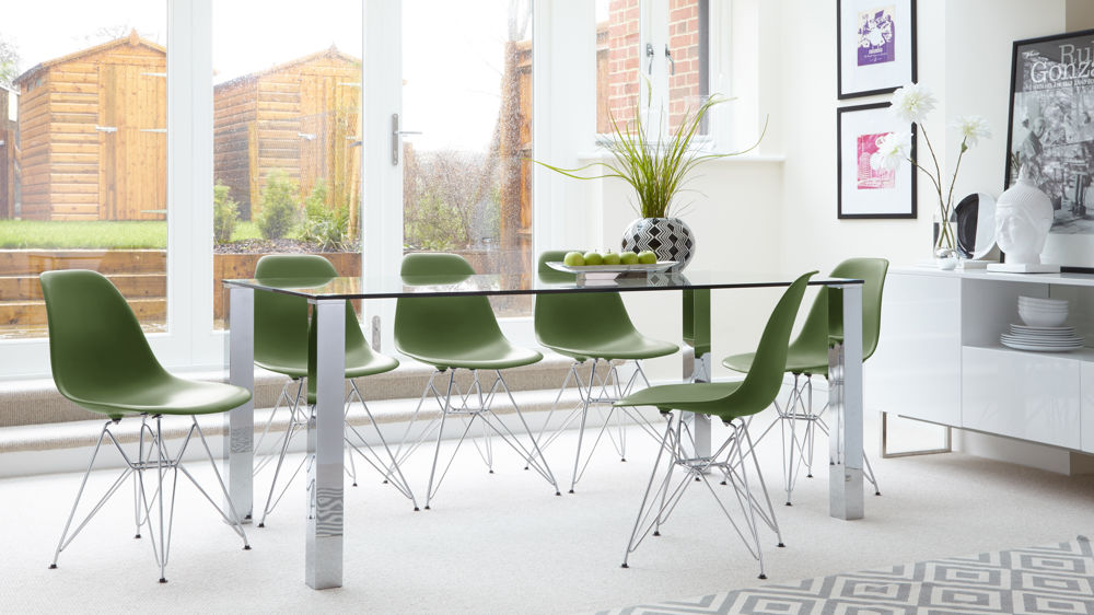 Eames Chairs with Metal Legs and Glass Table