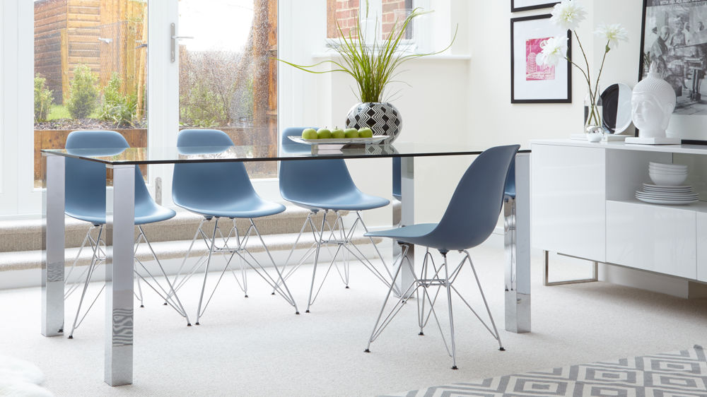 Blue Eames Chairs and Modern 6 Seater Dining Table