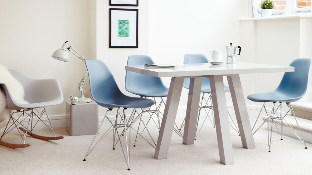 Blue Eames Dining Chairs with Wire Frame