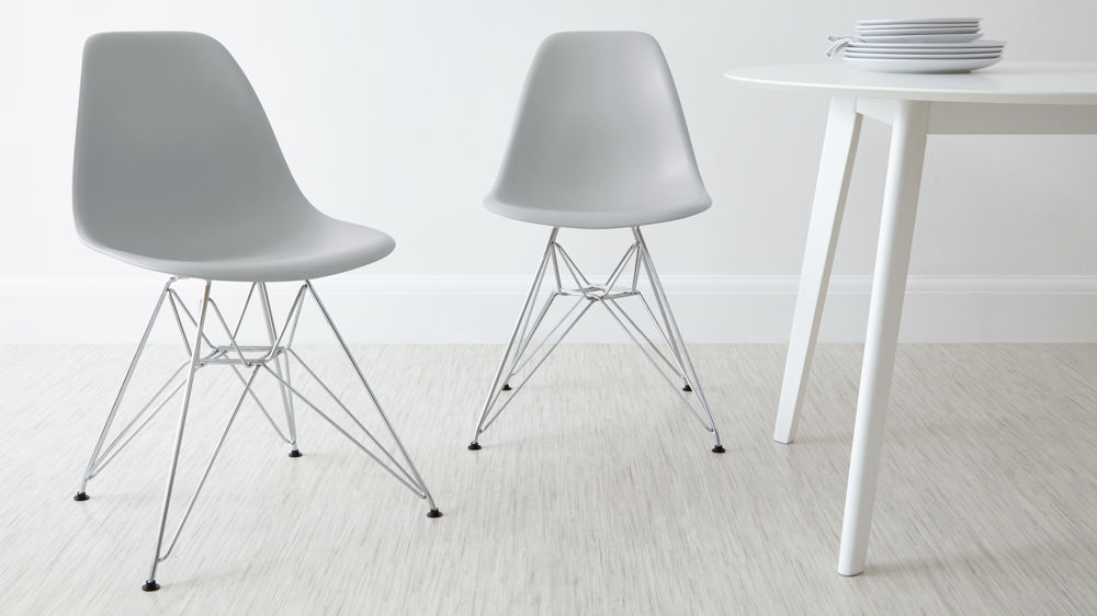 Light Grey Dining Chairs with Wire Frame