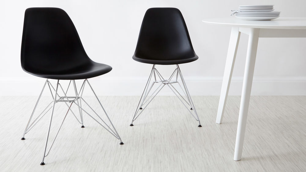Black Eames Dining Chairs with Wire Metal Frame