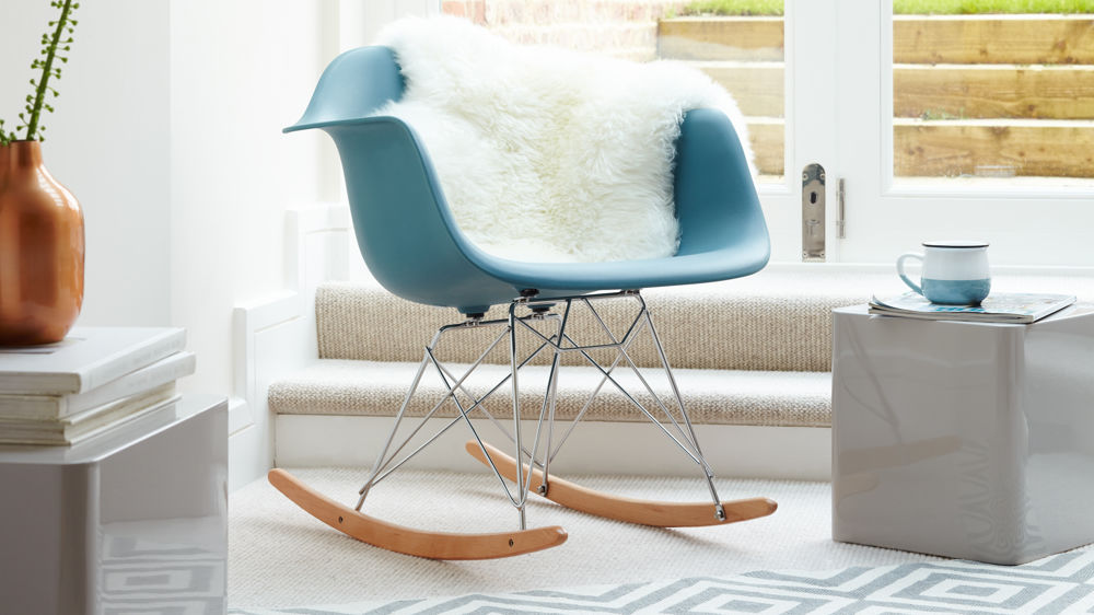 Teal Eames Rocking Chair