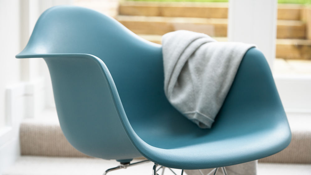Eames Style Moulded Seat Teal Rocking Chair