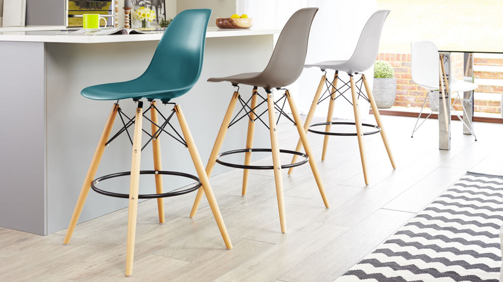Colourful Eames Style Bar Stools