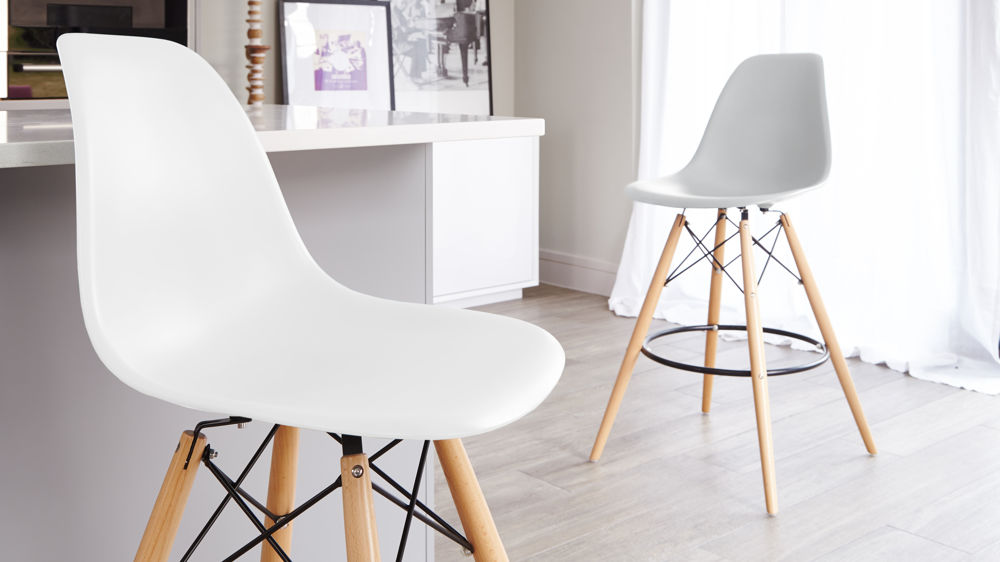 White and Light Grey Plastic Bar Stools