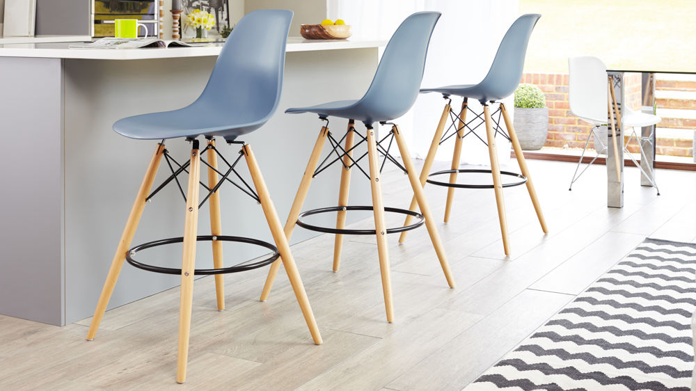 Blue Eames Style Barstools