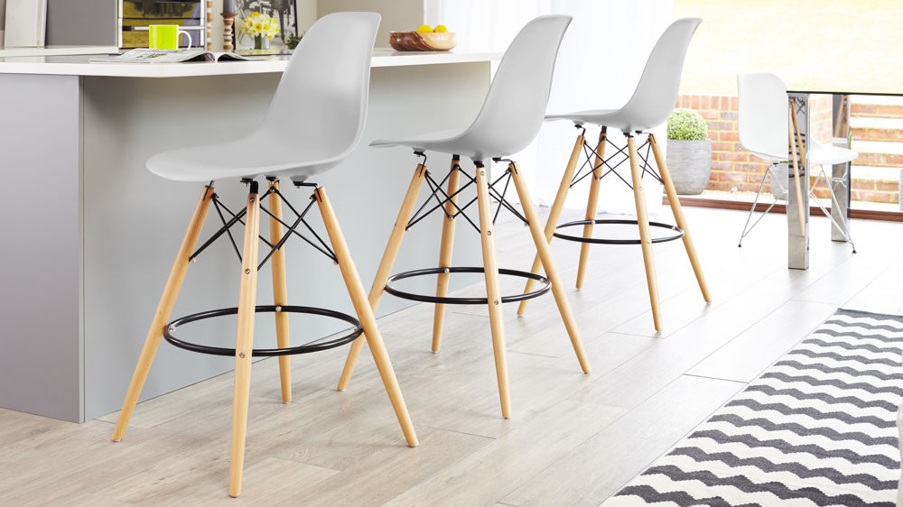 Light Grey Eames Style Bar Stool