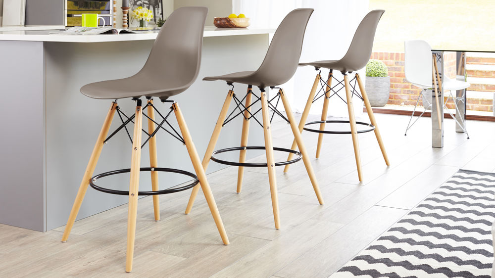 Taupe Grey Eames Style Bar Stool