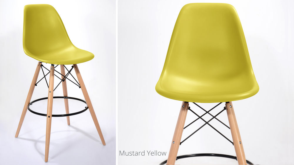 Modern Yellow Fixed Height Bar Stools