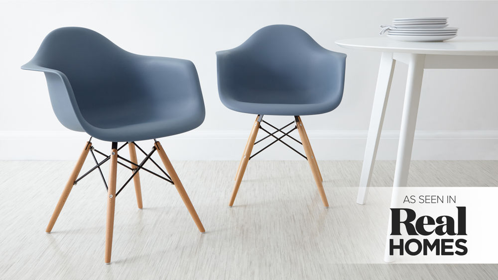 Blue Eames Dining Armchairs