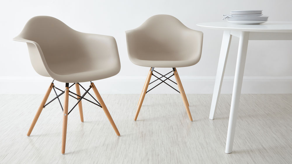 Beige Eames Dining Armchairs