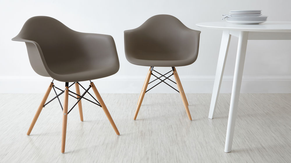 eames molded plywood dining chair metal base original chairs for sale taupe armchairs cushion