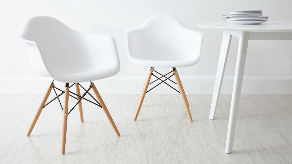 White Eames Dining Armchairs