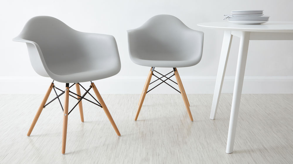 Light Grey Eames Dining Armchairs