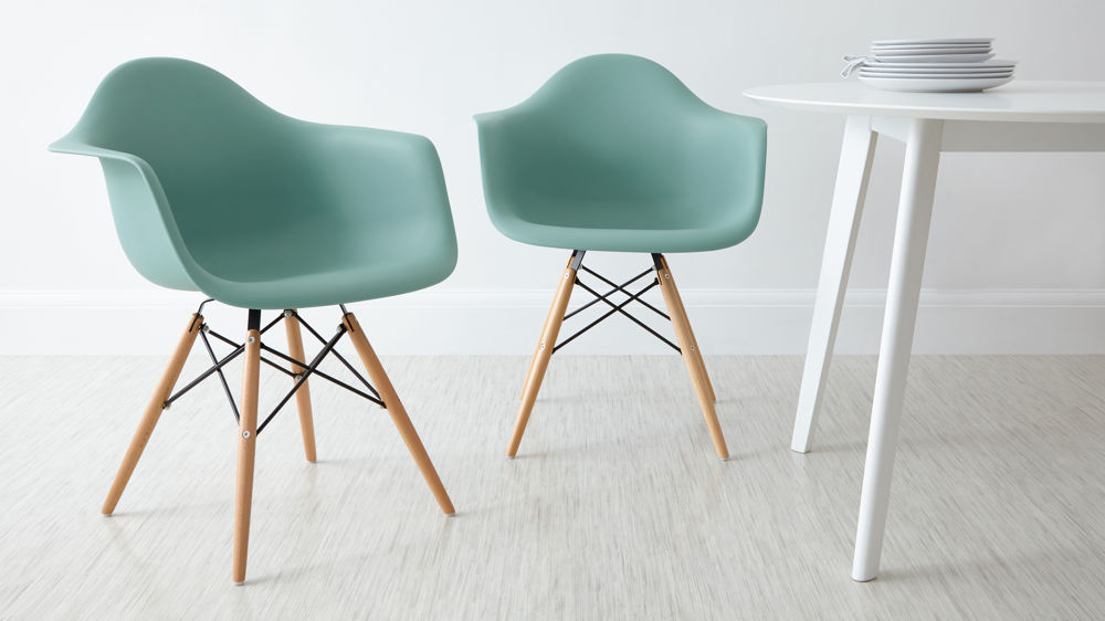 Turquoise Eames Dining Armchairs