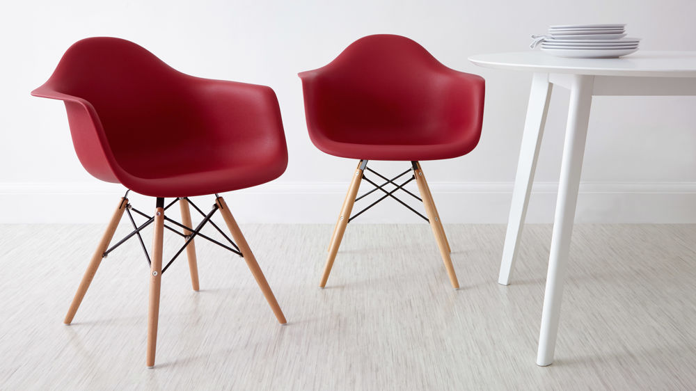 Red Eames Dining Armchairs