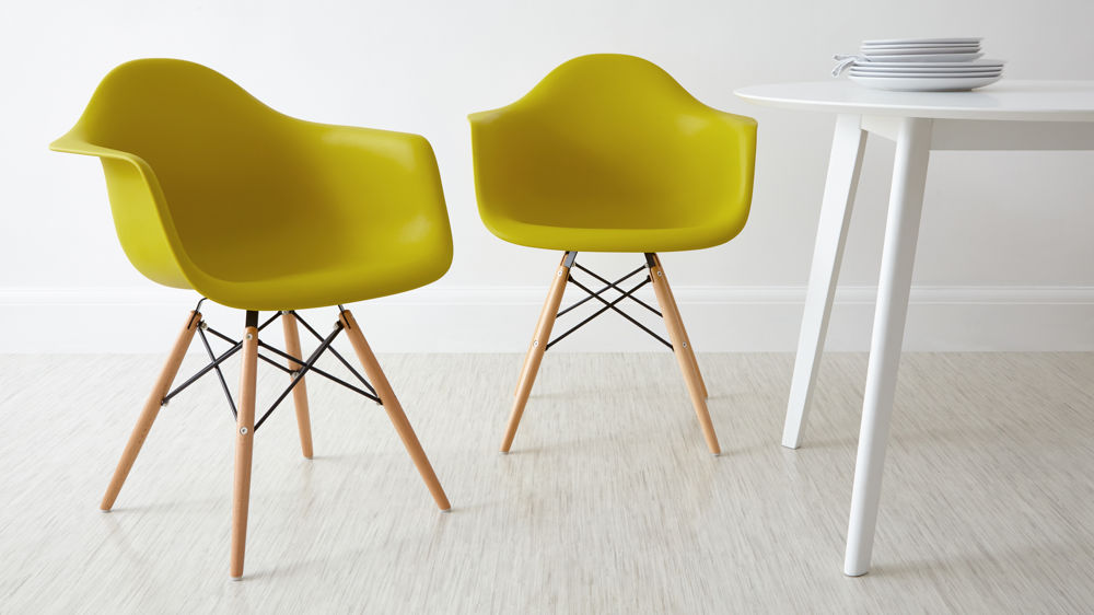 Yellow Eames Dining Armchairs