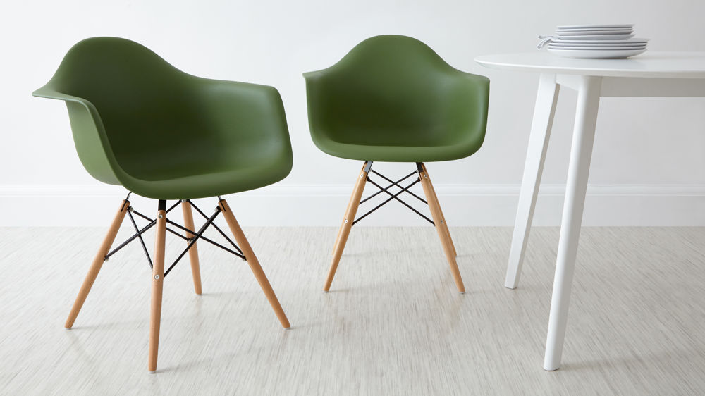 Green Eames Dining Armchairs