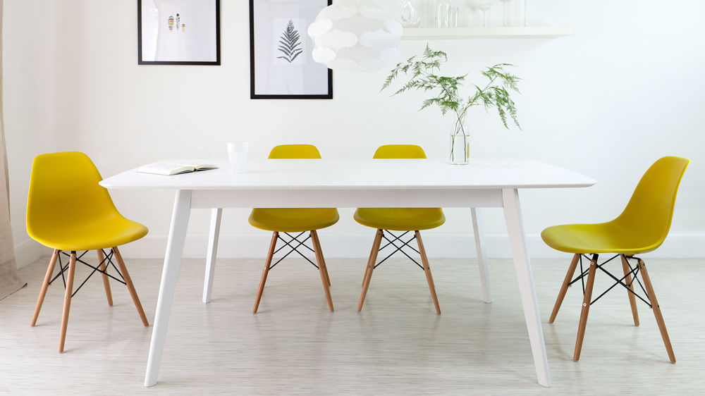 Contemporary Yellow And White Dining Set