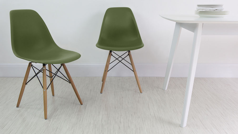 Green Eames Dining Chairs with Wooden Legs
