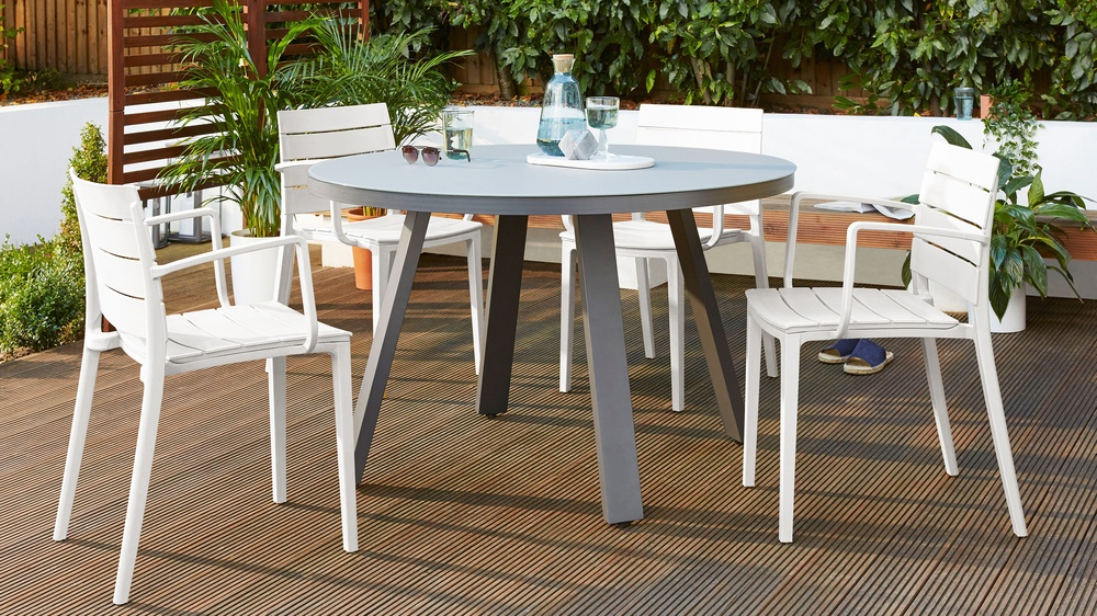 Cool grey stacking garden chairs