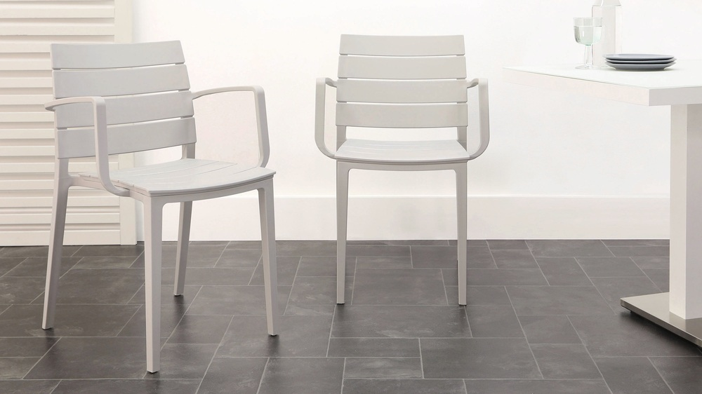 Cool grey stackable chairs