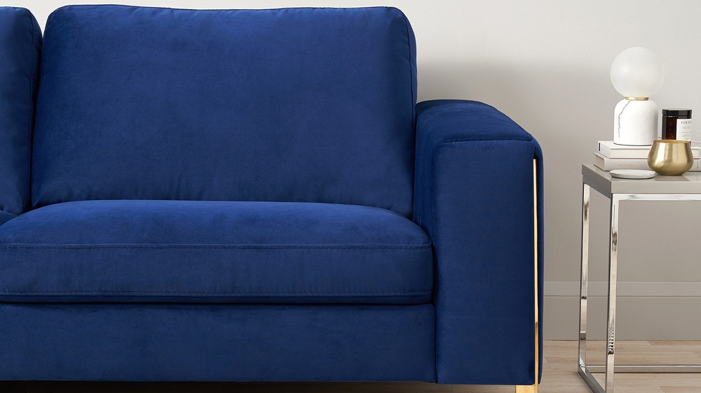 2 Seater velvet blue sofa