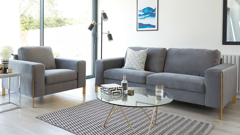 Modern brass trim sofa range