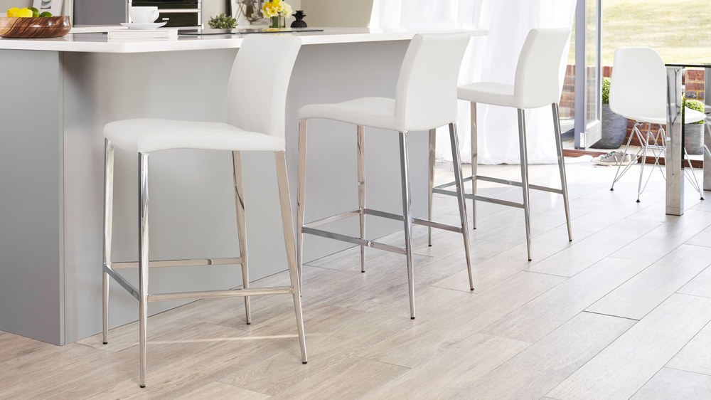 White and Chrome Bar Stool