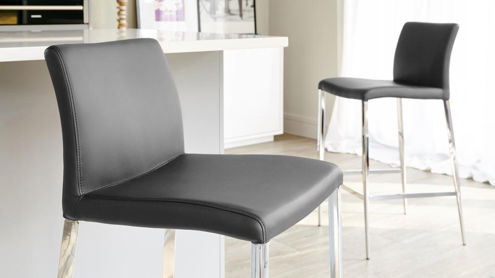 Dark Grey Fixed Height Bar Stools
