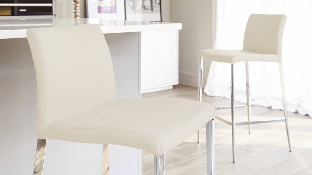 Light Cream Fixed Height Bar Stools