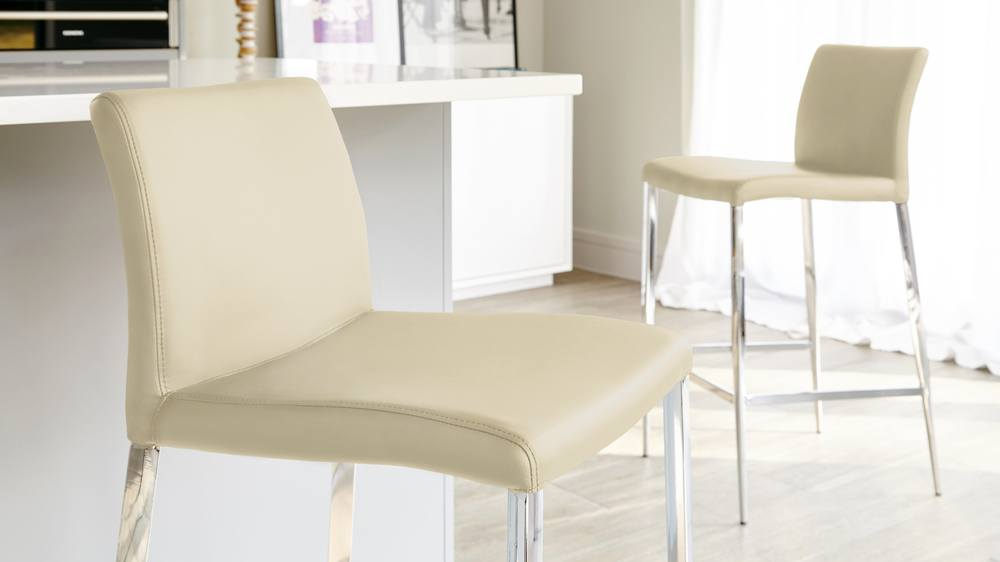 Beige Fixed Height Bar Stools