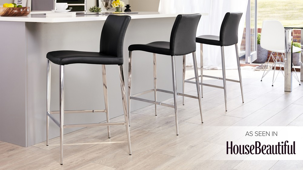 Modern Bar Stool Black Or White Elegant Chrome Tapered